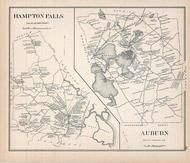 Hampton Falls, Auburn, New Hampshire State Atlas 1892 Uncolored